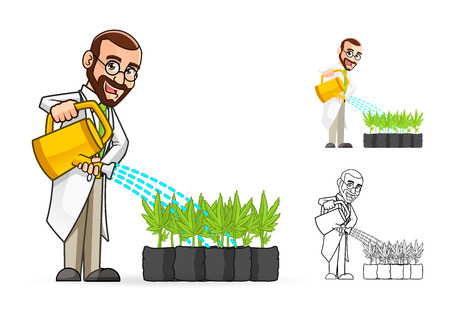 mad: High Quality Plant Scientist Cartoon Character Watering The Plants Include Flat Design and Line Art Version Illustration