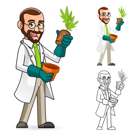 High Quality Plant Scientist Cartoon Character Inspecting The Roots of a Plant Include Flat Design and Line Art Version