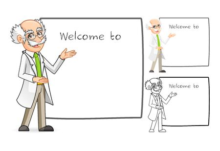 High Quality Scientist Cartoon Character with Welcoming Arms Include Flat Design and Line Art Version Illustration