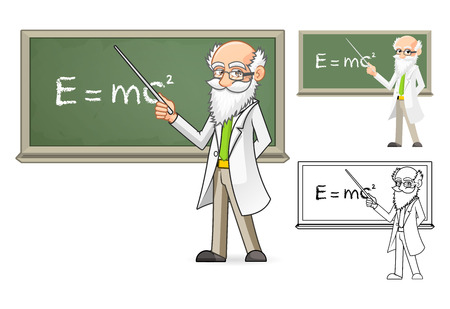 black board: High Quality Scientist Cartoon Character Holding a Pointer Stick Include Flat Design and Line Art Version