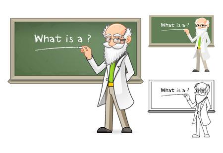 Wysokiej Jakoś ci Naukowiec Cartoon Character Holding Chalk Obejmuje Flat Design i Line Art Version