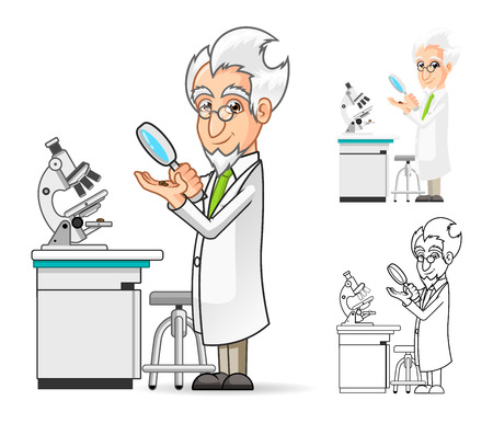 High Quality Scientist Cartoon Character Holding a Magnifying Glass with Microscope in The Background Include Flat Design and Line Art Version