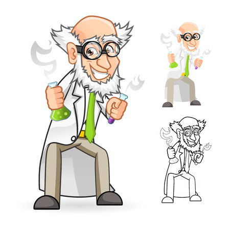 High Quality Scientist Cartoon Character Holding a Beaker and Test Tube with Feeling Great Include Flat Design and Line Art Version