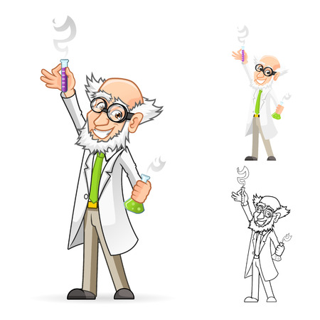 High Quality Scientist Cartoon Character Holding a Beaker and Test Tube with One Hand Raised and Feeling Great Include Flat Design and Line Art Version Illustration