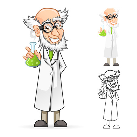 beakers: High Quality Scientist Cartoon Character Holding a Beaker Feeling Great Include Flat Design and Line Art Version