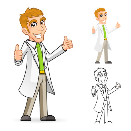 scientist in lab: High Quality Scientist Cartoon Character with Thumbs Up Arms Include Flat Design and Line Art Version Illustration