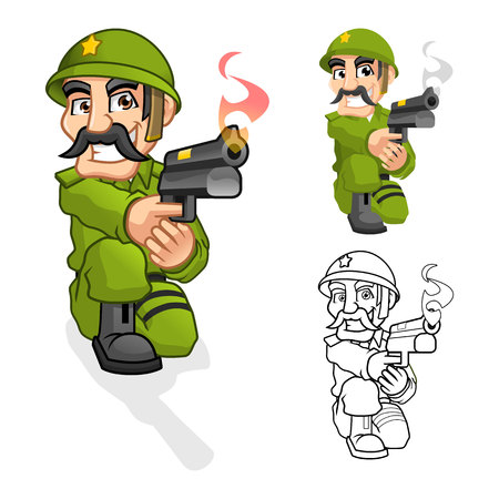 warfare: High Quality Captain Army Cartoon Character Aiming a Handgun with Shoot Pose Include Flat Design and Outlined Version Vector Illustration