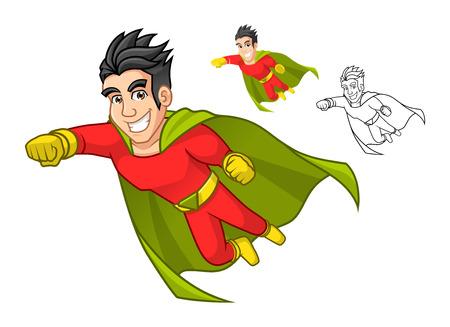 hombre fuerte: Alta calidad fresca del personaje superhéroe de dibujos animados con Cabo y actitud del vuelo incluyen el diseño de espacios de contorneado Ilustración versión vectorial