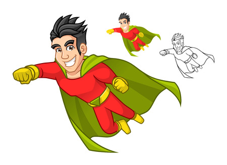 High Quality Cool Super Hero Cartoon Character with Cape and Flying Pose Include Flat Design and Outlined Version Vector Illustration Çizim
