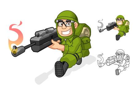 soldado: Carácter de alta calidad Ejército de dibujos animados que apunta un arma del rifle con Shoot Pose incluyen el diseño de espacios de contorneado Ilustración versión vectorial Vectores