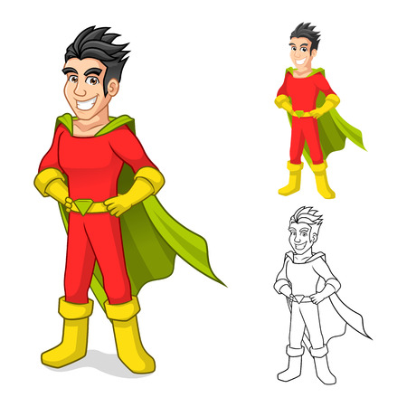 cape: High Quality Cool Super Hero Cartoon Character with Cape and Standing Pose Include Flat Design and Outlined Version Vector Illustration