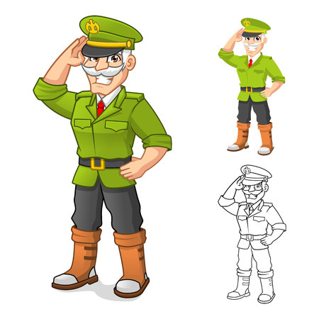 High Quality General Army Cartoon Character with Salute Hand Pose Include Flat Design and Outlined Version Vector Illustration Illustration