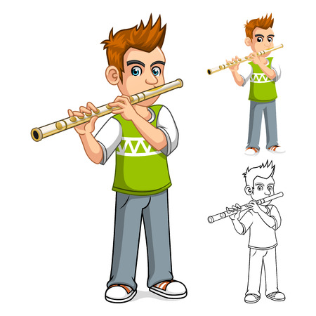 woodwind instrument: High Quality Boy Playing Flute Cartoon Character Vector Illustration Illustration
