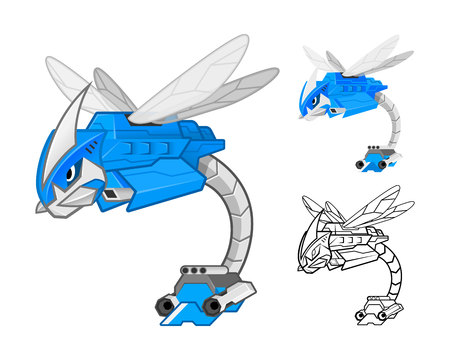 dragonfly: Robot Dragonfly Cartoon Character Include Flat Design and Outlined Version Vector Illustration
