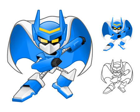 Robot Ninja Cartoon Character Include Flat Design and Outlined Version Vector Illustration