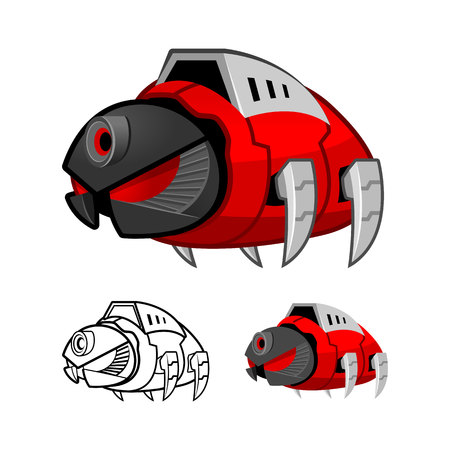 enemy: Robot Cockroach Cartoon Character Include Flat Design and Outlined Version Vector Illustration
