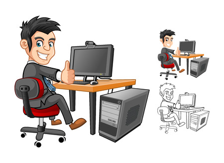 High Quality Officer or Employee or Business Man Sitting at The Table Cartoon Character working with Computer and Thumbs Up Hand Gesture Vector Illustration Vettoriali