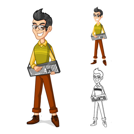 man looking out: Detailed Happy Boy Geek Mascot Cartoon Character Holding a Computer Keyboard with Guitarist Style Include with Flat Design and Outlined Version Vector Illustration