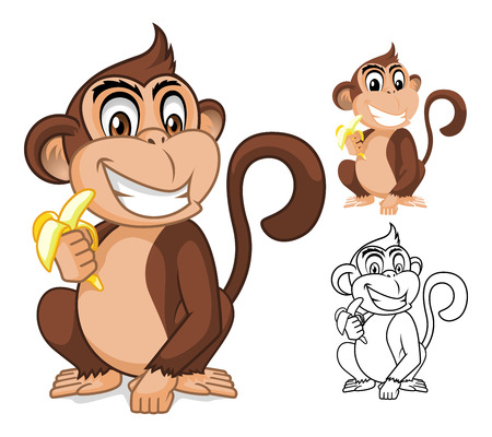 High Quality Monkey Holding Banana Cartoon Character Include Flat Design and Outlined Version Vector Illustration