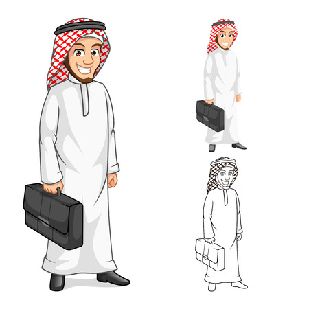 money cartoon: High Quality Middle Eastern Businessman Holding a Briefcase or Bag Cartoon Character  Include Flat Design and Outlined Version Vector Illustration Illustration