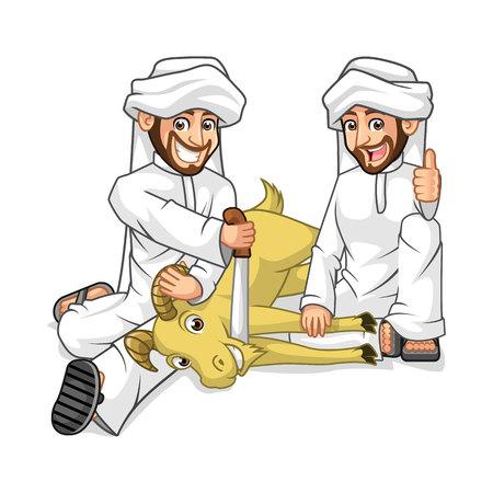 Hoge kwaliteit Moslim Mens stripfiguur Sacrifice Geit in Viering van Eid Al-Adha Vector Illustration
