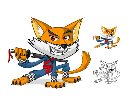 Ninja Cat Mascot Cartoon Character Include Flat Design and Outlined Version Vector Illustration Çizim