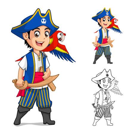 Kid-Piraten-Cartoon-Figur mit einem Flach Entwurf und Umrissen Version Vector Illustration Standard-Bild - 55685508
