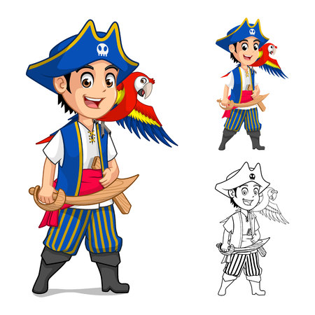 Kid Pirate Cartoon Character Include Flat Design and Outlined Version Vector Illustration