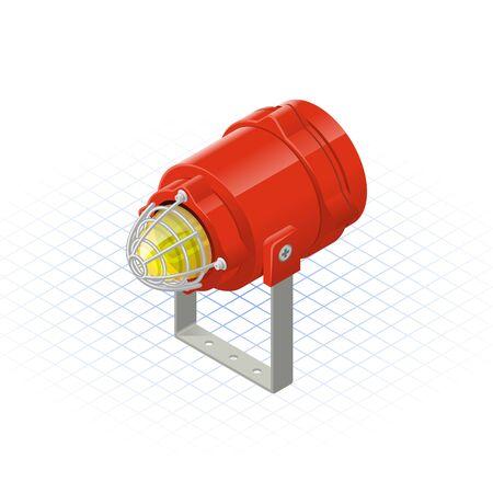 beacon: Isometric Beacon a Safety Equipment Vector Illustration