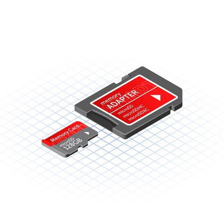 adapter: Isometric Memory Micro Secure Digital with Adapter Vector Illustration Illustration