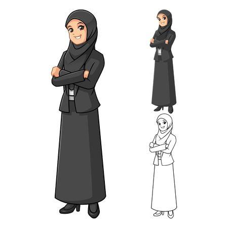 Moslim onderneemster draagt zwarte sluier of sjaal met gevouwen handen stripfiguur Vector Illustration