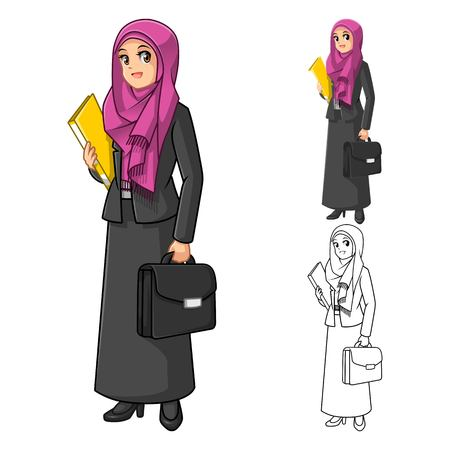 secretary: Muslim Businesswoman Wearing Fuchsia Veil or Scarf with Holding Briefcase Cartoon Character Vector Illustration