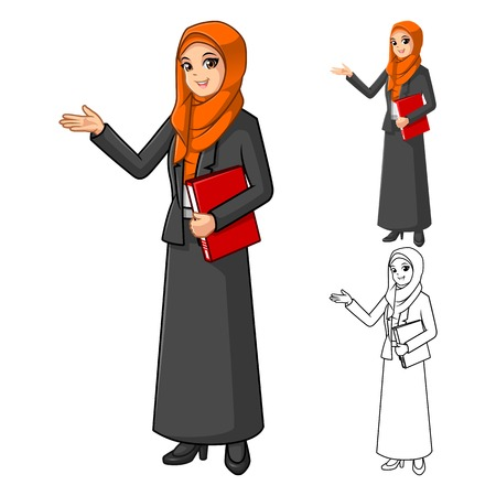 welcoming: Muslim Businesswoman Wearing Orange Veil or Scarf with Welcoming Hands Cartoon Character Vector Illustration