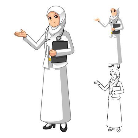 medico caricatura: Musulmán de la mujer del doctor Wearing velo blanco o bufanda con las manos de bienvenida personaje de dibujos animados ilustración vectorial Vectores