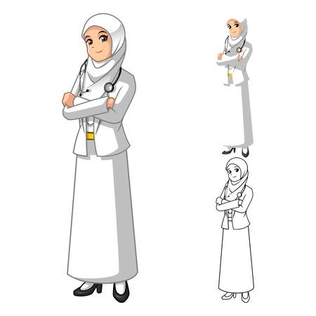 Muslim Medico donna indossa bianco velo o sciarpa con illustrazione vettoriale Character Cartoon mani piegate