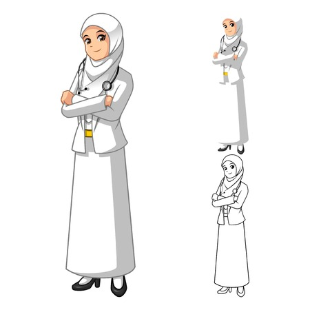 folded hands: Muslim Woman Doctor Wearing White Veil or Scarf with Folded Hands Cartoon Character Vector Illustration