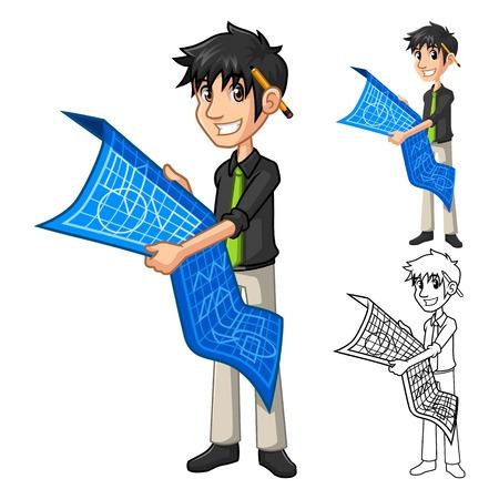 arquitecto caricatura: El hombre de negocios Arquitecto Holding Blue Print mapa de caracteres de dibujos animados plan incluyen el dise�o de espacios de arte del ejemplo de versi�n de l�nea vectorial