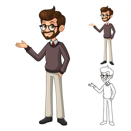 glasses icon: Businessman Hipster Geek with Welcoming Arms Pose Cartoon Character Include Flat Design and Line Art Version Vector Illustration Illustration