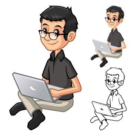 Geek Man with Glasses Playing Typing Notebook Cartoon Character Include Flat Design and Line Art Version Vector Illustration Reklamní fotografie - 55685695