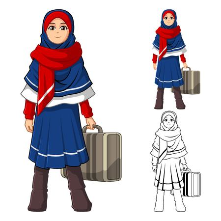 muslim fashion: Muslim Girl Fashion Wearing Blue Red Veil or Scarf with Holding a Suitcase and Winter Outfit Include Flat Design and Outlined Version Cartoon Character Vector Illustration Illustration