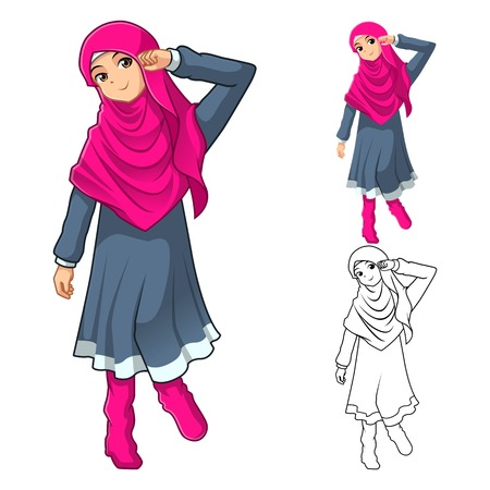 muslim fashion: Muslim Girl Fashion Wearing Pink Veil or Scarf with Dress and Boots Include Flat Design and Outlined Version Cartoon Character Vector Illustration Illustration