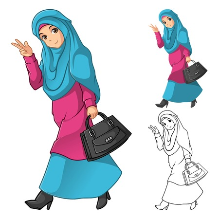 muslim fashion: Muslim Girl Fashion Wearing Green Veil or Scarf with Holding a Black Bag and Dress Outfit Include Flat Design and Outlined Version Cartoon Character Vector Illustration
