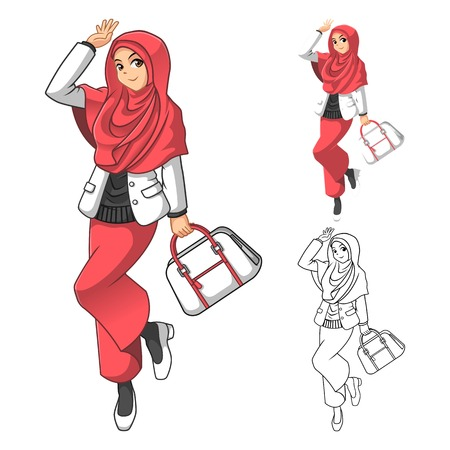 woman holding bag: Muslim Woman Fashion Wearing Pink Veil or Scarf with Holding a Bag and Casual Outfit Include Flat Design and Outlined Version Cartoon Character Vector Illustration Illustration