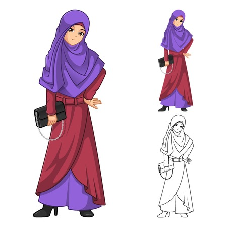 veil: Muslim Woman Fashion Wearing Purple Veil or Scarf with Holding a Black Handbag Include Flat Design and Outlined Version Cartoon Character Vector Illustration Illustration