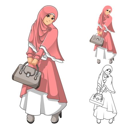 woman holding bag: Muslim Woman Fashion Wearing Pink Veil or Scarf and Dress Outfit with Holding a Bag Include Flat Design and Outlined Version Cartoon Character Vector Illustration