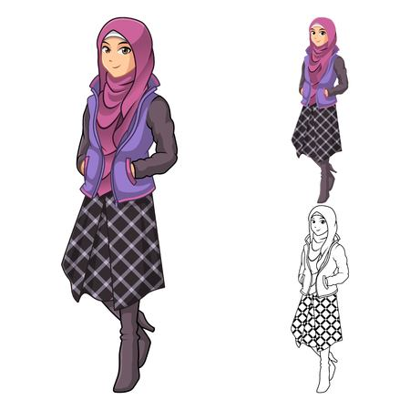 muslim fashion: Muslim Woman Fashion Wearing Purple Veil or Scarf with Jacket and Line Skirt Outfit Include Flat Design and Outlined Version Cartoon Character Vector Illustration