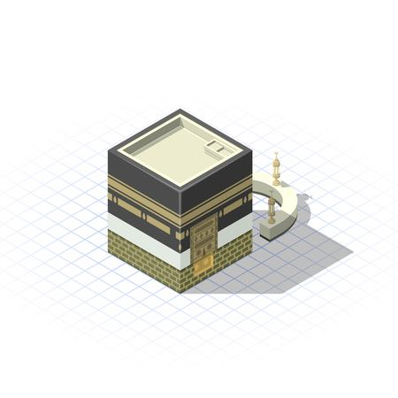 Isometric The Sacred Mosque in The Holy City of Mecca Vector Illustration