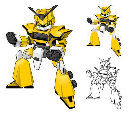Robot Truck Cartoon Character Include Flat Design and Line Art Version Vector Illustration Reklamní fotografie - 55685764