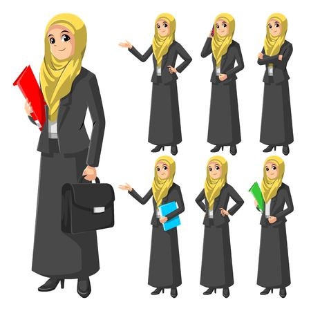 Set of Modern Muslim Businesswoman Wearing Yellow Veil or Scarf Cartoon Character Vector Illustration Vectores
