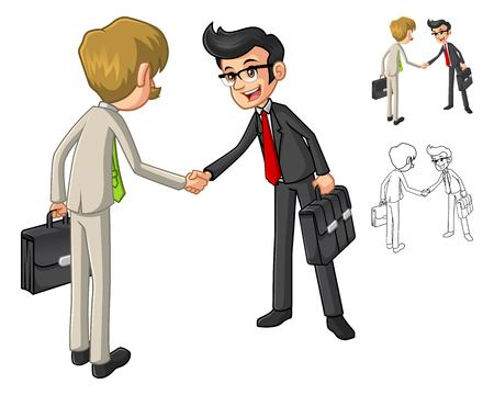 shakes: Businessman Shake Hands Poses with Client Cartoon Character Include Flat Design and Line Art Version Vector Illustration